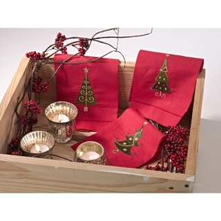 Embroidered Christmas Tree Hemstitched Linen Cotton Guest Towel - Set of 4