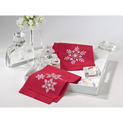 Snowflake Embroidery Hemstitched Linen Cotton Guest Towel - Set of 4