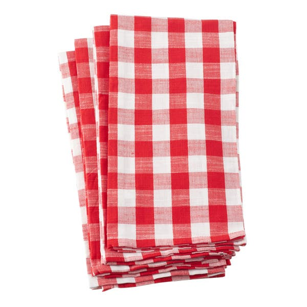 Classic Gingham Check Design Cotton Kitchen Towel - Set of 4
