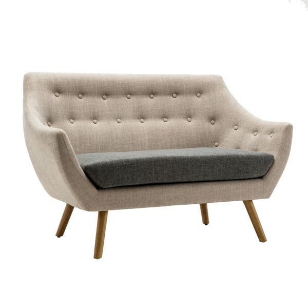 Astonishing Shop Boraam Kara Beige And Grey Fabric Loveseat Free Gmtry Best Dining Table And Chair Ideas Images Gmtryco