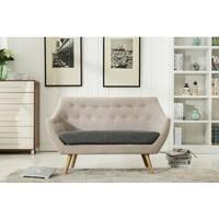 Boraam Kara Beige and Grey Fabric Loveseat