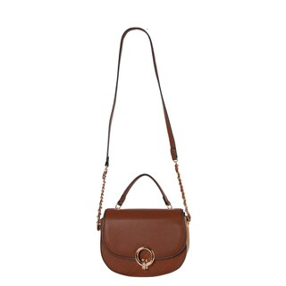 Diophy Front Metal Ring Décor Half Chain Crossbody Handbag