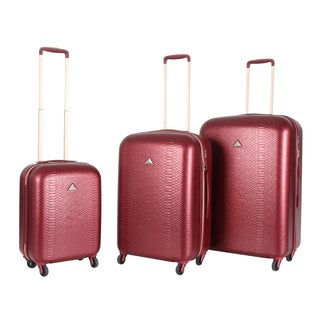 Triforce Everglades Croco Embossed Hardside Spinner Upright Luggage (Set of 3)