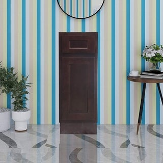 Vanity Art 12 Inch Bathroom Vanity Base Cabinet Single Right Offset Solid Wood Small Bathroom Storage Floor Cabinet
