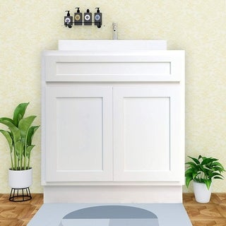 Vanity Art 24 Inch Single Sink Bathroom Vanity Cabinet Solid Wood Small Bathroom Storage Floor Cabinet - White, Gray, Brown