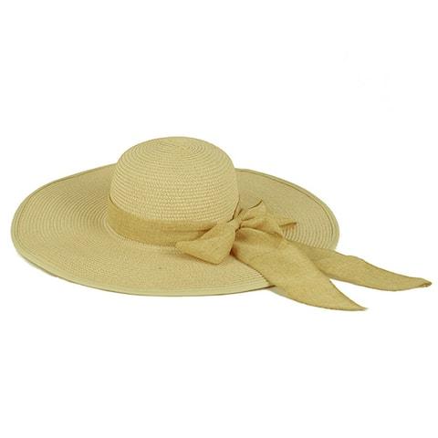 Pop Fashionwear Women's Cool Summer Floppy Wide Brim Straw Hat with Ribbon