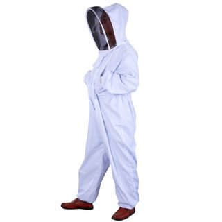 Thickened Cotton Professional Beekeeping Coverall Suit Pest Control Veil with Hat White L