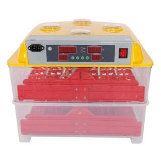 72-Egg Practical Peep Hole Fully Automatic Poultry Incubator Set US Plug Yellow & Transparent
