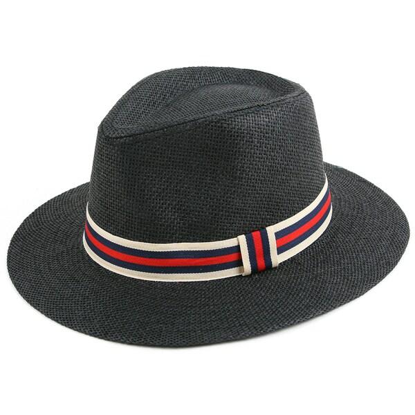 Pop Fashionwear Classic Straw Long Brim Fedora Hat. Opens flyout.