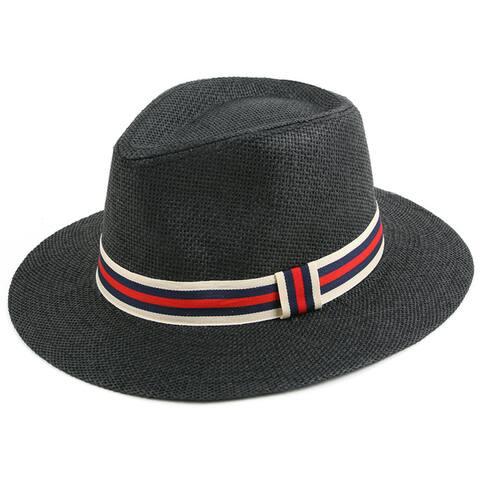 Pop Fashionwear Classic Straw Long Brim Fedora Hat