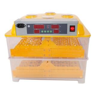 96-Egg Practical Peep Hole Fully Automatic Poultry Incubator Set US Plug Yellow & Transparent