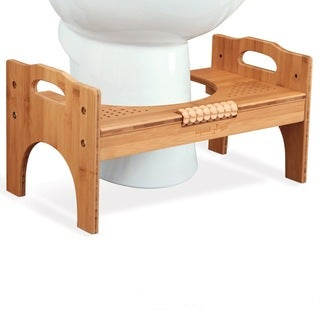 Squat N Go Height-Adjustable Bamboo Toilet Stool with Foot Massager