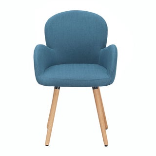 Adeco Mid-century Modern Indoor Muted Fabric Arm Chair with High Thin Legs
