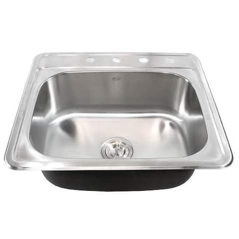 25-Inch Stainless Steel Top Mount Drop In Single Bowl Kitchen / Bar/ Island Sink - 18 Gauge
