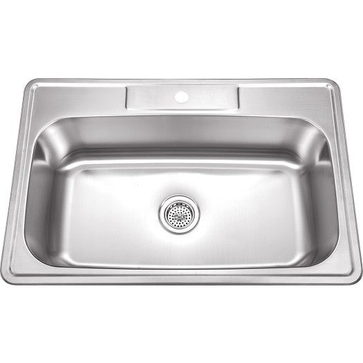Perfect 33 Inch Stainless Steel Top Mount Drop In Single Bowl Kitchen Sink   18  Gauge