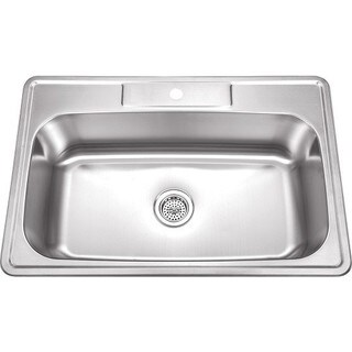 33-Inch Stainless Steel Top Mount Drop In Single Bowl Kitchen Sink - 18 Gauge