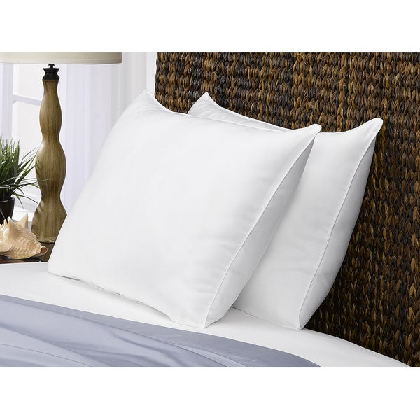 Poly-Cotton Superior Down-Like Soft Pillow (Set of 2) - Best for Stomach Sleepers - White