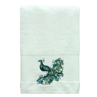 Bacova White Cotton Peacock Towel