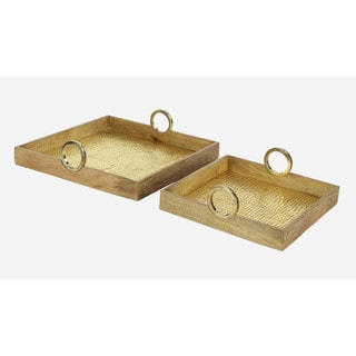 Brass Wooden Serving Tray With Square Base - Set of 2