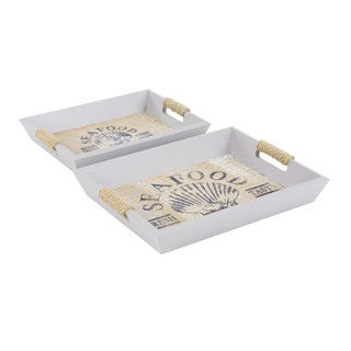 Spacious Seafood Wood Serving Tray - Set of 2