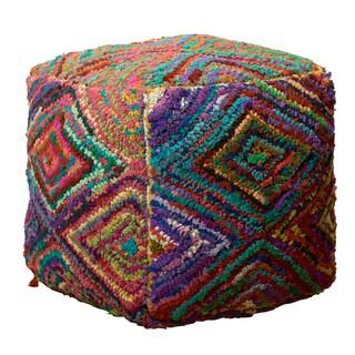 LR Home Multicolor Fabric Diamond Pouf Ottoman