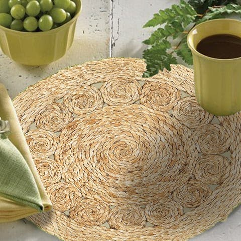 "LR Home Table Top Natural Jute Circlet Placemats (15 inch Set of Two) - 15"" x 15"""