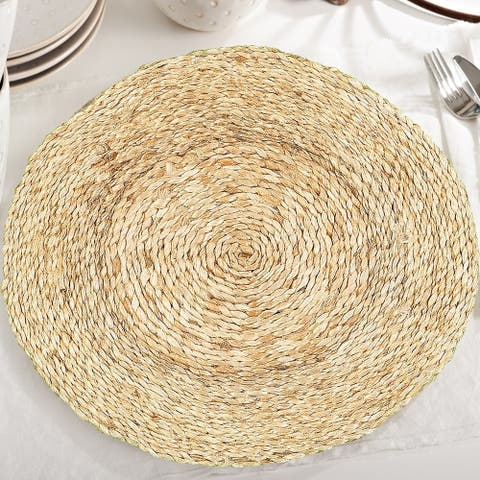 """LR Home Table Top Natural Jute Braided Placemats (15 inch Set of Two) - 15"""" x 15"""""""