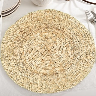 "LR Home Table Top Natural Jute Braided Placemats (15 inch Set of Two) - 15"" x 15"""