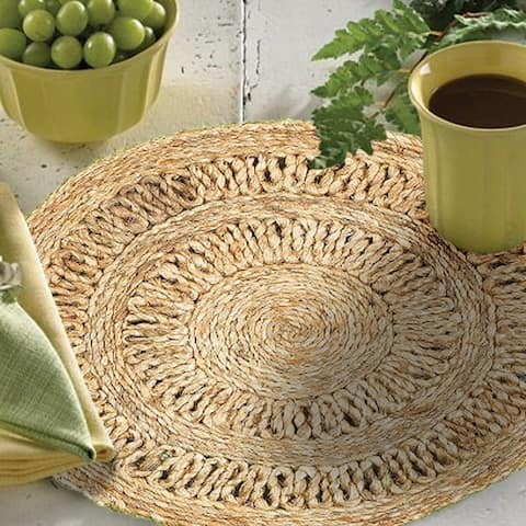 """LR Home Table Top Natural Jute Indoor Placemats (15' Set of Two) - 15"""" x 15"""""""