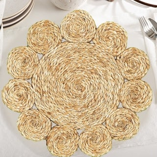 """LR Home Table Top Natural Jute Disks Placemats (15 inch Set of Two) - 15"""" x 15"""""""
