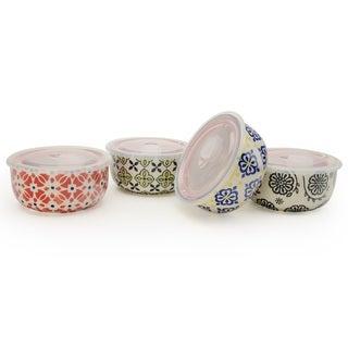 Signature Housewares Print 10 Assorted Storage Bowls (Set of 4)