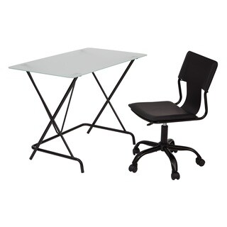 2 Piece Desk and Chair Set with Frosted Tempered Glass Top