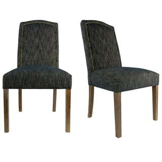 SL2008 Cambelback Style LUCKY Upholstered Fabric Dining Chair, Bronze  Nailhead Trim, Spring Seating (