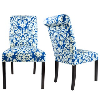 SL3007 Rollback Style CLOSE-UP Upholstered Fabric Dining Chair with Spring Seating, Espresso legs (Set of 2)