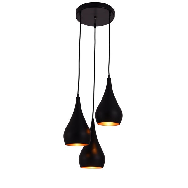 Living District Nora Collection Black 3-Light Pendant