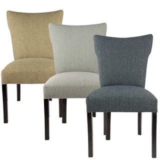 BELLA Collection OLIVIA Upholstered Contemporary Armless Dining Side Chairs, Espresso legs (Set of 2)