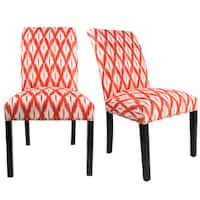 DAYNA Curve Back Style TIXIA IKAT Upholstered Fabric Dining Chair with Nail Head Trim Spring Seating, Espresso legs  (Set of 2)