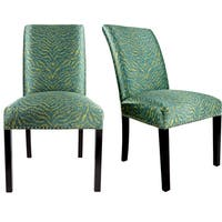 DAYNA Curve Back Style TIGER Upholstered Fabric Dining Chair with Nail Head Trim Spring Seating, Espresso legs  (Set of 2)