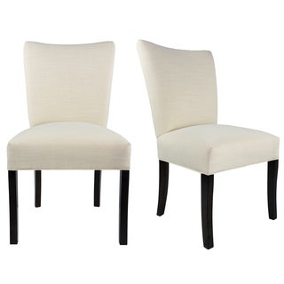 JULIA Collection ALLURE Upholstered Contemporary Armless Dining Side Chairs, Espresso legs (Set of 2)