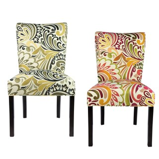 JULIA Collection CRYSTAL VISION Upholstered Contemporary Armless Dining Side Chairs, Espresso legs (Set of 2)