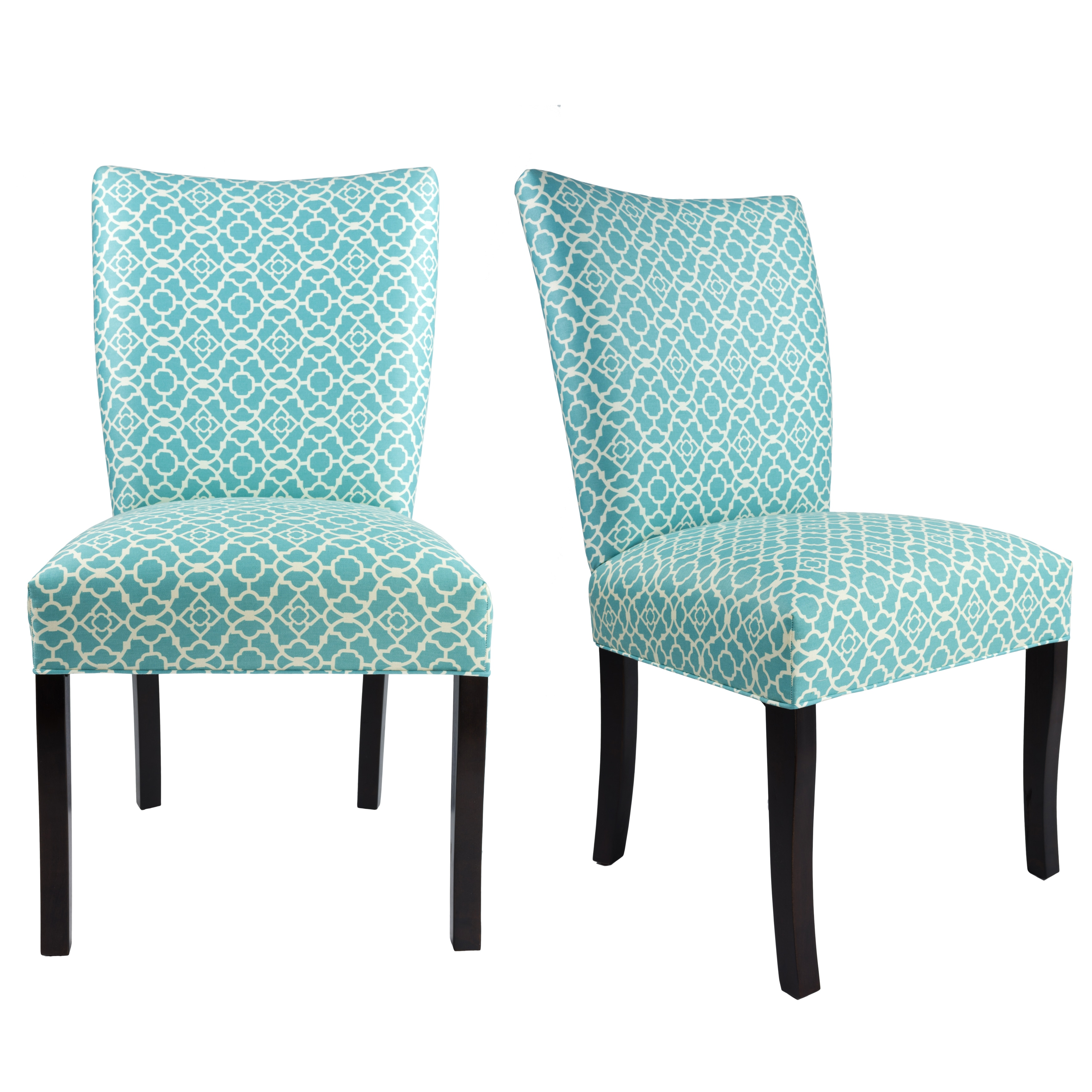 JULIA Collection LOVELY Upholstered Modern Dining Room Chairs, Side Chair,  Espresso legs (Set of 2)