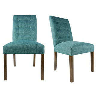 KACEY Straight Back Style KEY-LARGO Upholstered Fabric Dining Chair with Spring Seating, Weather Walnut legs (Set of 2)