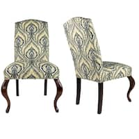 SL3003 Cambelback Style SUSSEX Upholstered Fabric Dining Chair, Spring Seating, Walnut Legs  (Set of 2)