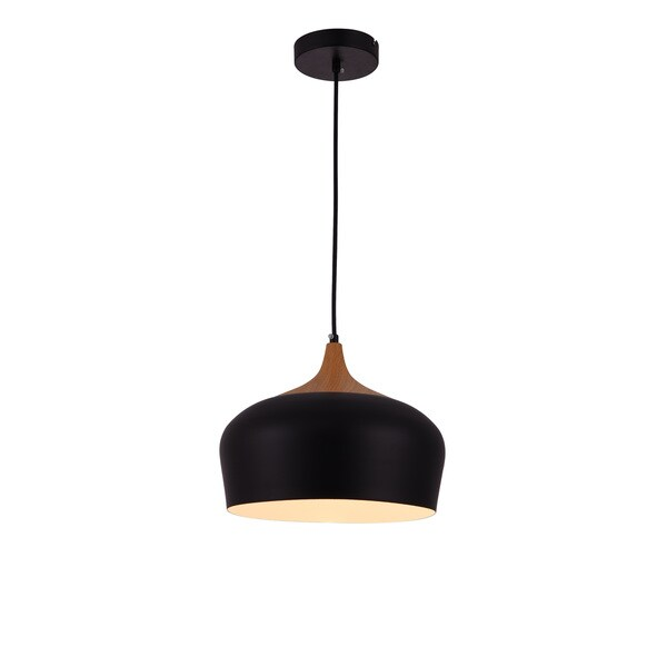Living District Nora Collection Black and Natural Wood Pendant