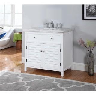 Truman White Wood and Marble Bathroom Vanity