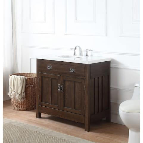 Richmond Bath Vanity in Antique Oak with Grey and White Marble Top - Buy Antique Bathroom Vanities & Vanity Cabinets Online At Overstock
