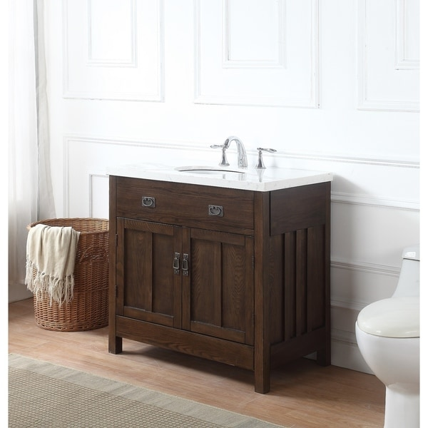 Richmond Bath Vanity in Antique Oak with Grey and White Marble Top - Shop Richmond Bath Vanity In Antique Oak With Grey And White Marble