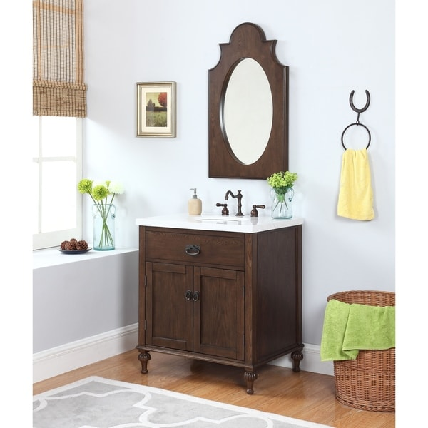 Huntington Bath Vanity in Antique Oak with Grey and White Marble Top - Shop Huntington Bath Vanity In Antique Oak With Grey And White