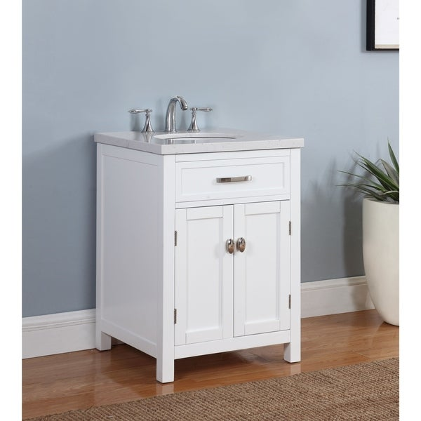 Grey And White Marble Bathroom: Shop Solana Bathroom Vanity In White Finish With Grey And