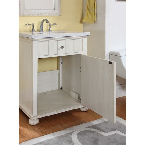 Shop Hampton Bath Vanity In Distressed White With Grey And